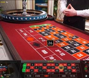 Roulette américaine dans un casino en live avec croupiers en direct